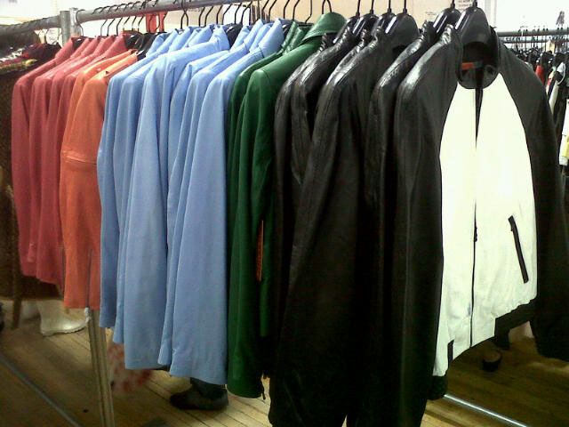 Leather jackets in an array of colors at Alice + Olivia Sample Sale