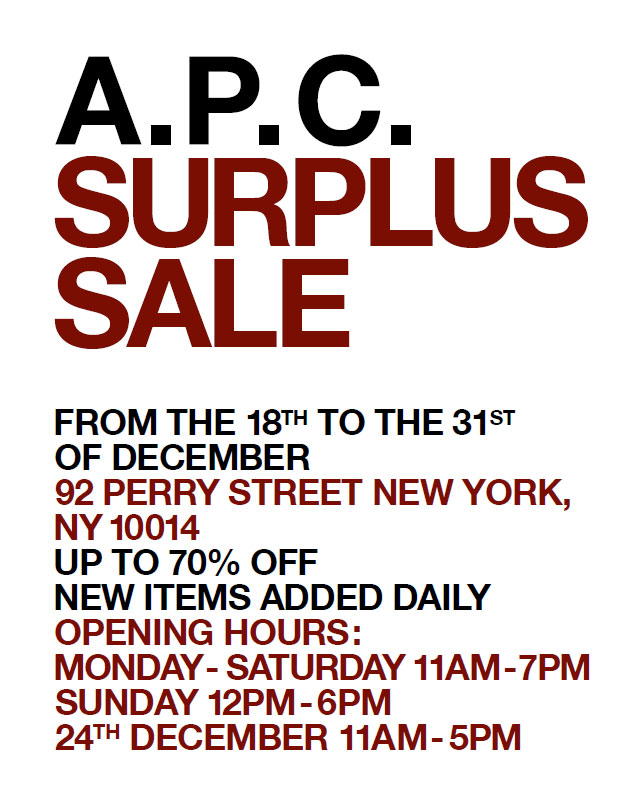 A.P.C. Surplus Sale