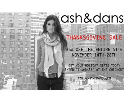 ash&dans Thanksgiving Sale: Thru 11/30