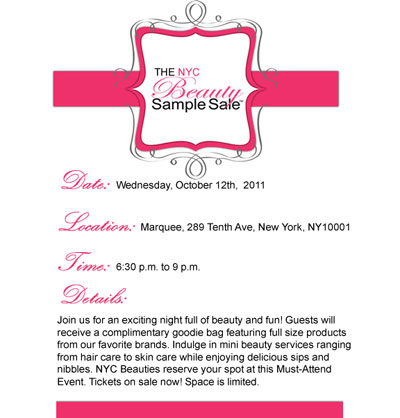 New York Beauty Sample Sale: 10/12