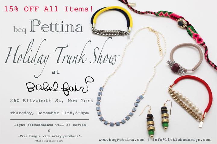 beq Pettina Jewelry Holiday Trunk Show