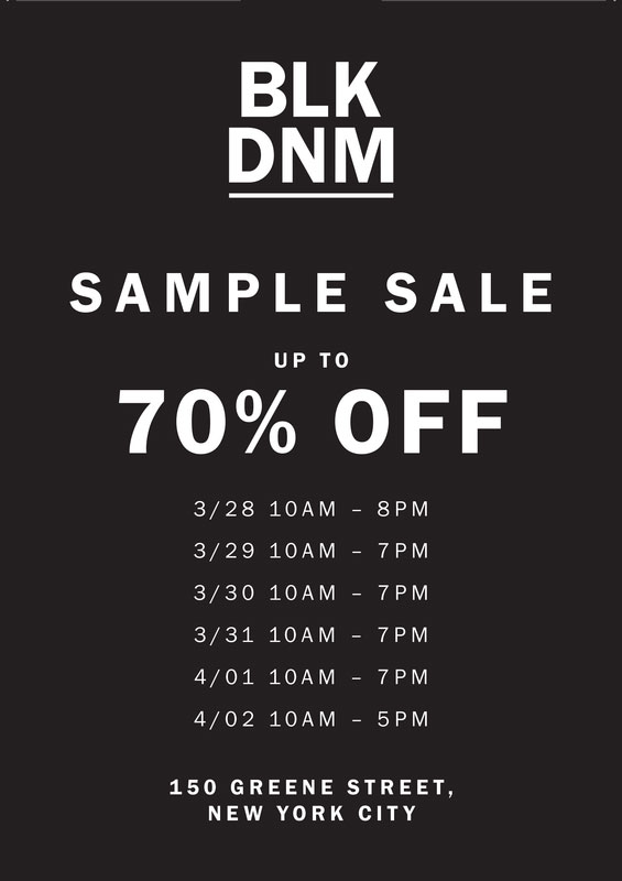 BLK DNM Sample Sale