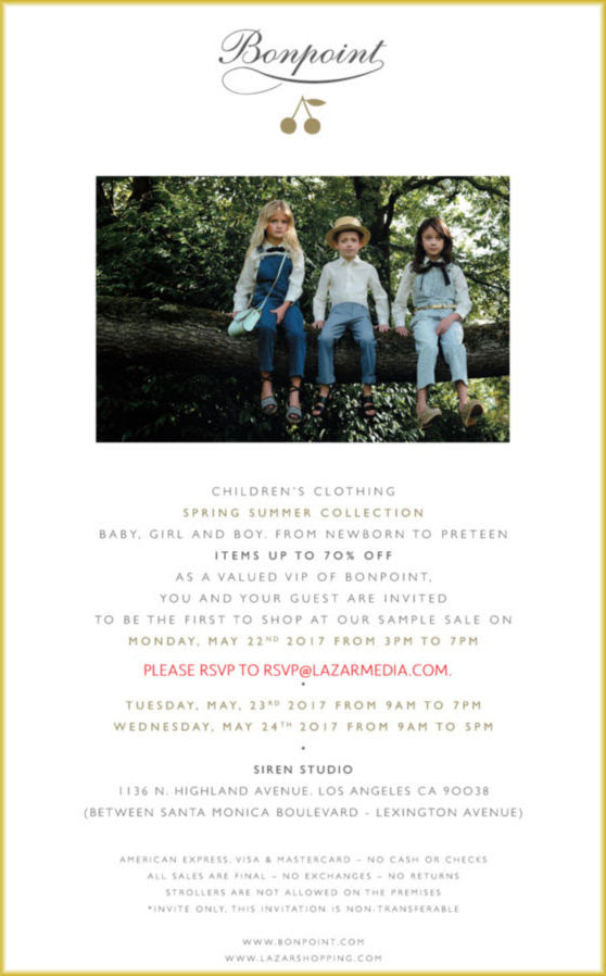 Bonpoint Spring/Summer Sample Sale