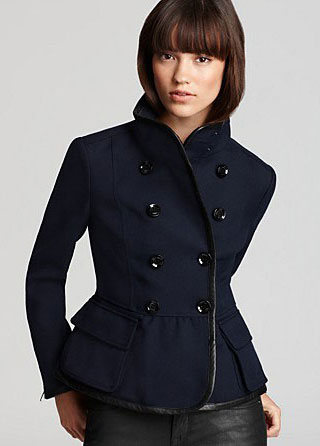 Burberry Brit Laxey Double Breasted Leather Trim Blazer $750