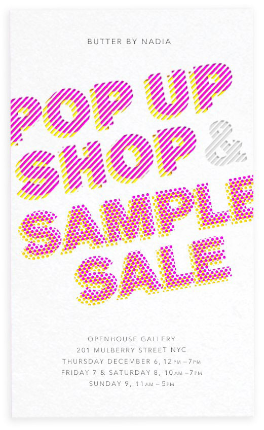 Butter by Nadia Pop Up Shop & Sample Sale