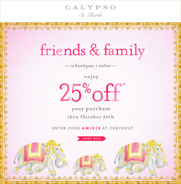 Calypso St. Barth Friends & Family Sale