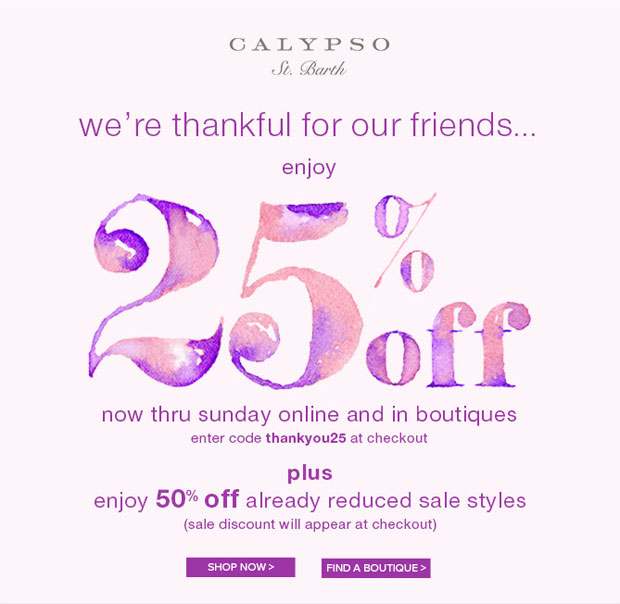 Calypso St. Barth Thanksgiving Sale