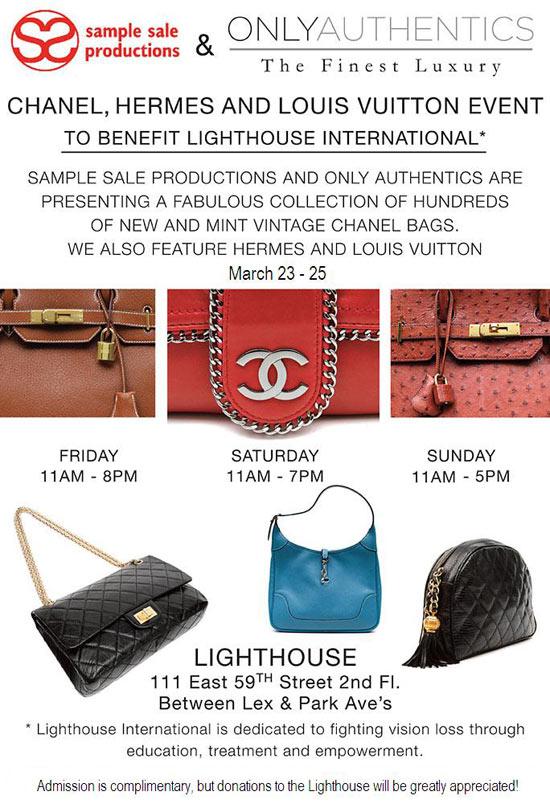Chanel, Hermes, Louis Vuitton Sample Sale