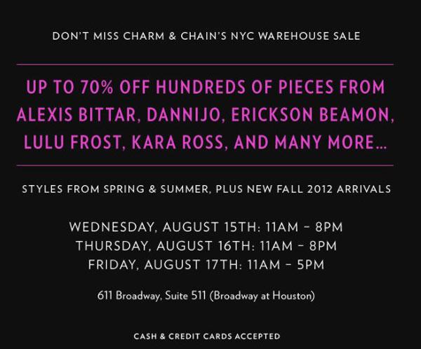 Charm & Chain Warehouse Sale