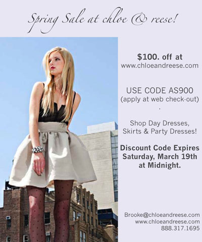 $100 off at Chloe & Reese