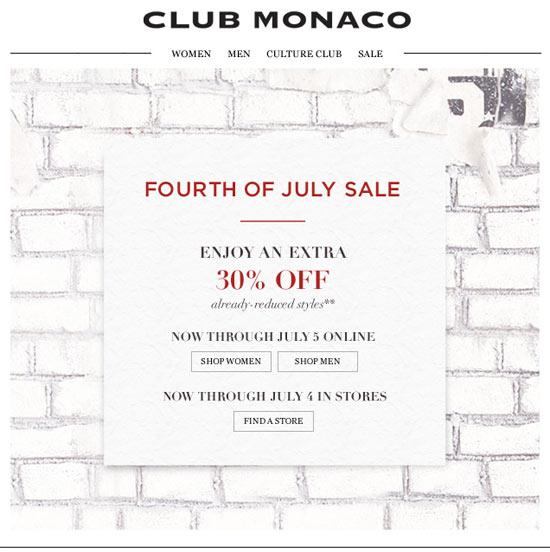 Club Monaco Fourth of July Sale