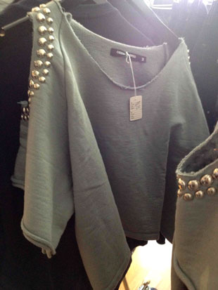 Cropped Sweatshirt with Studs in Grey ($41)