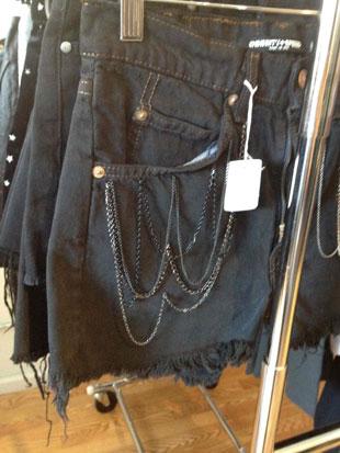 Cutoff Black Denim Shorts with Chains ($82)
