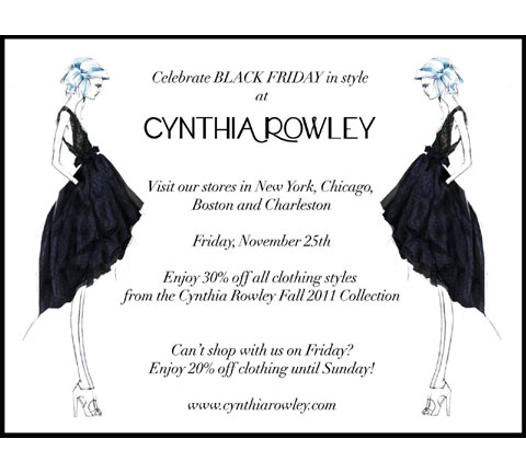 Celebrate Black Friday in style at Cynthia Rowley: 11/25