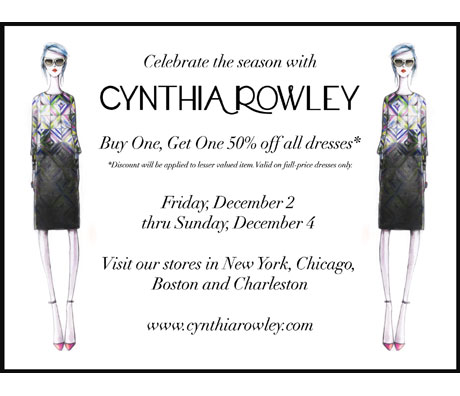 Buy One, Get One 50% off all dresses at Cynthia Rowley: 12/2 - 12/4