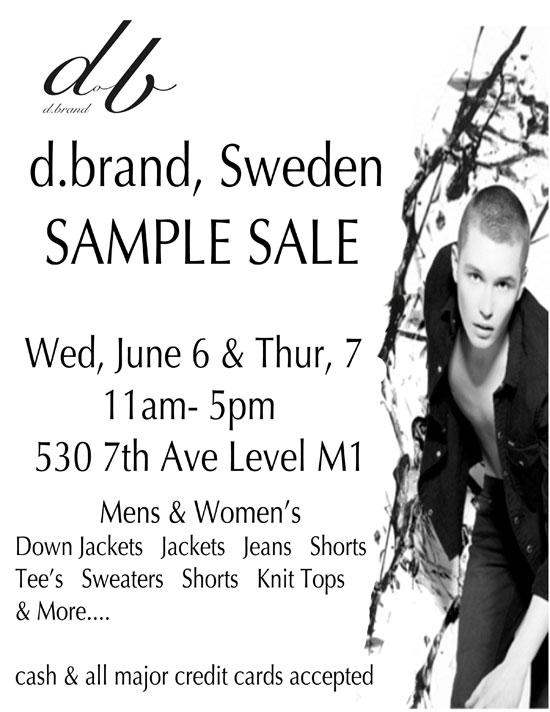 d.brand, Sweden Sample Sale