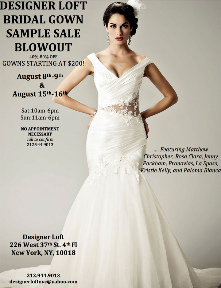bridal gown sample sale new york