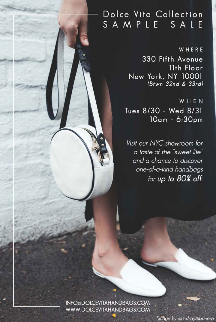 Dolce Vita Collection Handbag Sample Sale