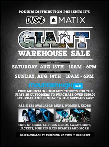 DVS & Matix Warehouse Sale