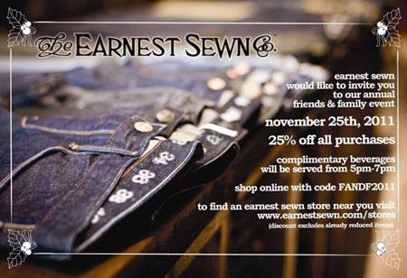 Earnest Sewn Black Friday Sale