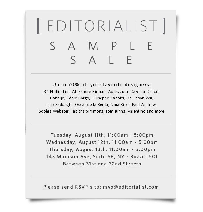 Editorialist Sample Sale