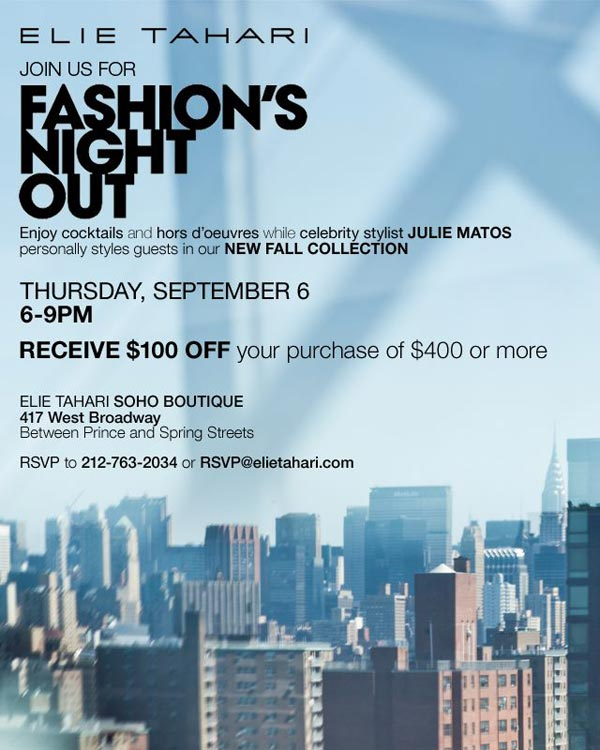 Elie Tahari Fashion's Night Out Event