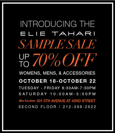 Elie Tahari Fall 2011 Sample Sale