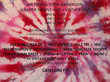 eM Productions Summer Sample Sale