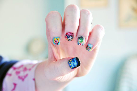 Andy Warhol's Marilyn Monroe, Van Gogh's Starry Night, Rene Magritte's Son of Man, Edvard Munch's Scream and Money's Field of Poppies- Nail Art Trends