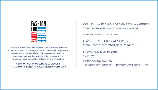 Fashion for Sandy Relief 50% Off Designer Sale