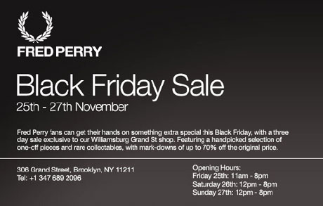 Fred Perry Black Friday Sale