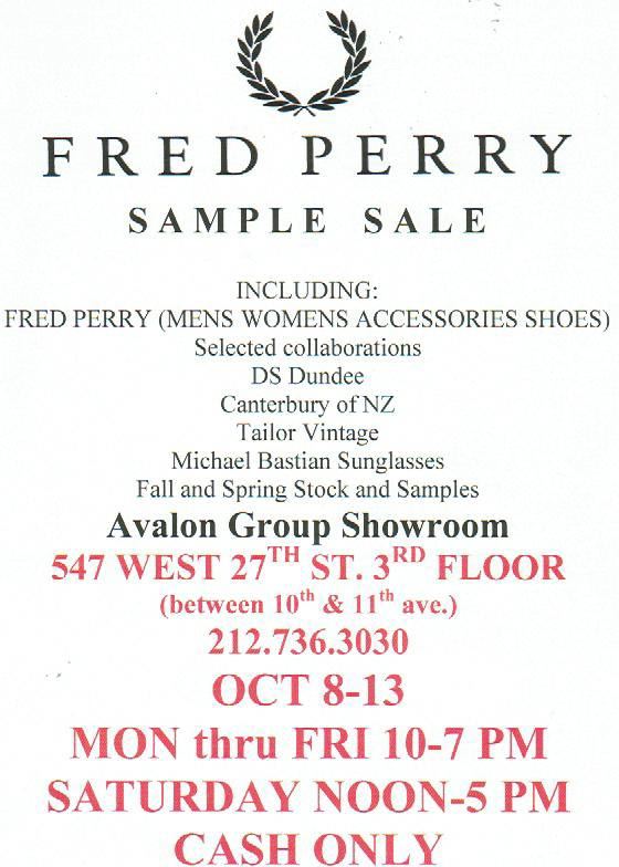 Fredy Perry Semi-Annual Sample Sale