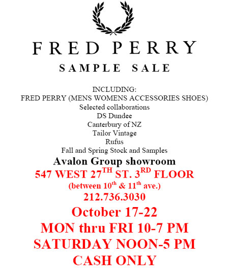 Fred Perry Sample Sale