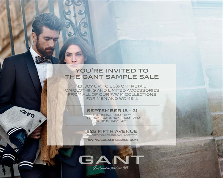 GANT Fall/Winter 2014 Sample Sale