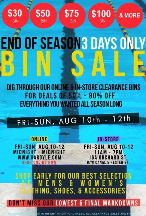 Gargyle End-of-Season Clearance Bins Sale