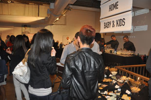 Food and drinks at the opening at the Gilt Warehouse Sale