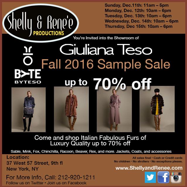 Giuliana Teso Fall 2016 Sample Sale