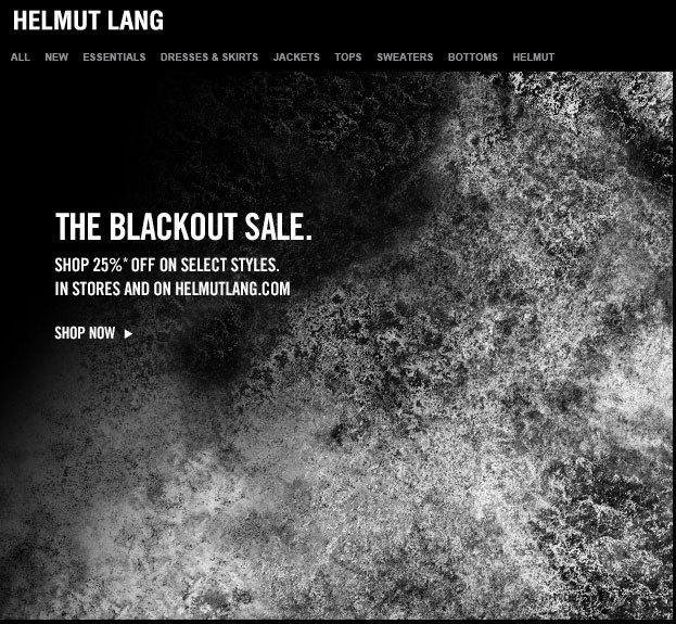 Helmut Lang Blackout Sale