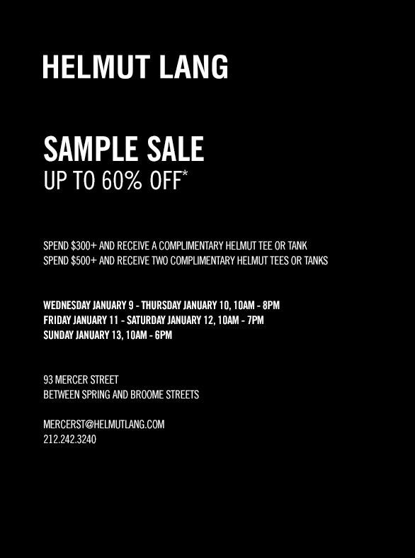 Helmut Lang Clothing New York Sample Sale - TheStylishCity.com