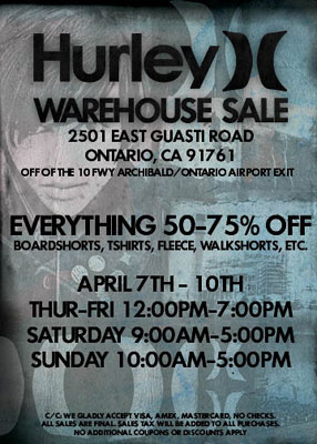 Hurley Warehouse Sale
