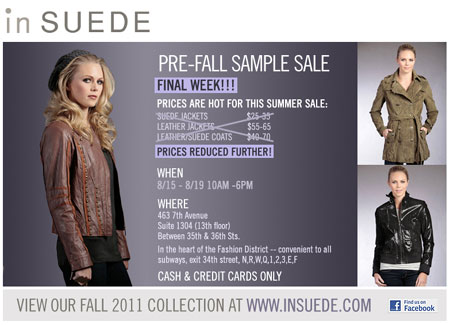 In Suede Sample Sale