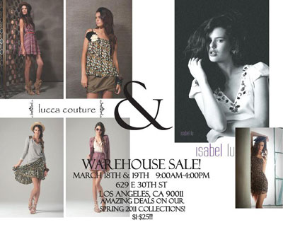 Isabel Lu and Lucca Couture Warehouse Sale