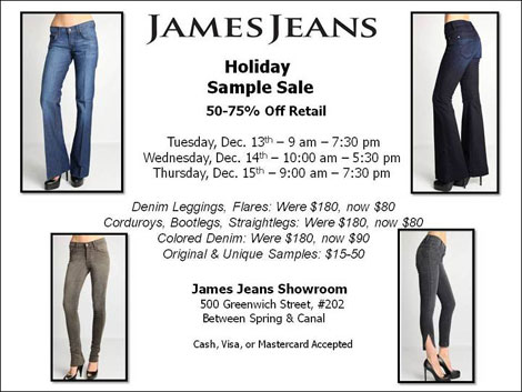 James Jeans Holiday Sample Sale