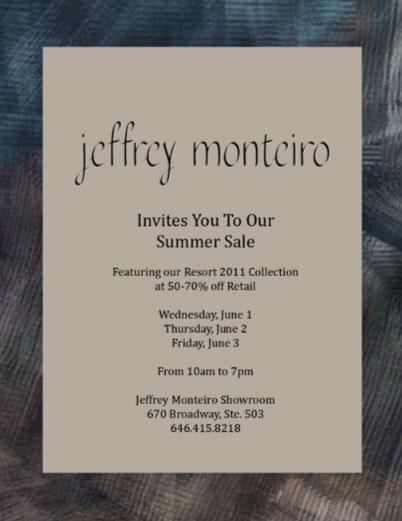 Jeffrey Monteiro Sample Sale