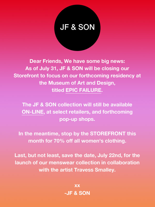 JF & Son Sample Sale
