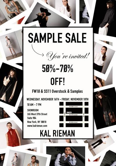 Kal Rieman Sample Sale