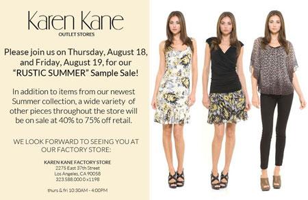 Karen Kane's 'Rustic Summer' Sample Sale