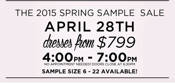 Kleinfeld Bridal Spring 2015 Sample Sale