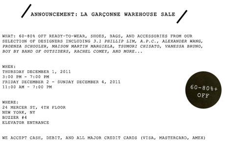 New York Sample Sales - La Garconne Warehouse Sale
