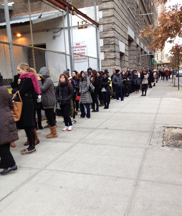 It's 11AM. Really long lines at 3.1 Phillip Lim Sample Sale